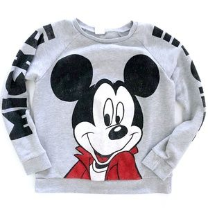 Disney Womens Mickey Mouse Gray Spellout Sweater M